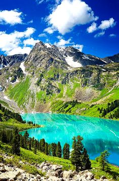 Beautiful Tuequiose Lake in Altai Mountain .