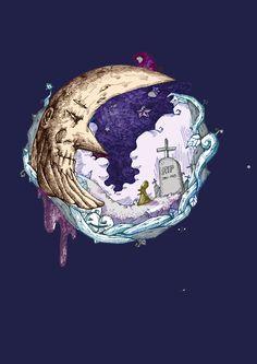 달,소녀,할로윈,별,일러스트,묘지,하늘,인연,펜화