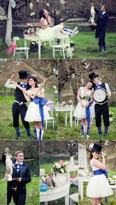 Fall wedding ideas - Blue and Black Alice in Wonderland Inspired Fall Weddings