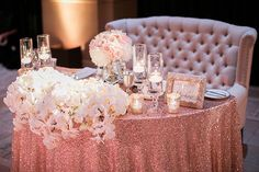 Glamorous Blush Pink Sweetheart Table // sequin linen, orchids, loveseat, luxury, wedding