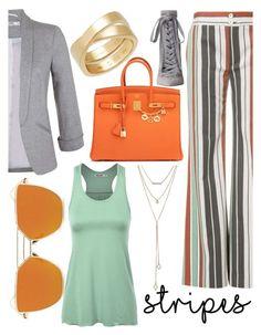 """Strikingly Stripey #stripedpants #orange"" by landi-ruthven on Polyvore featuring Chloé, Miss Selfridge, SUGARFIX by BaubleBar, Zimmermann, Hermès and Cartier"