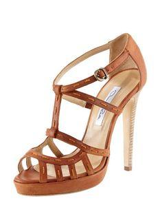 Topstitched-Strap Sandal by Oscar de la Renta at Bergdorf Goodman.