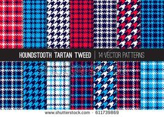 Red, White, Blue and Navy Houndstooth Tartan Tweed Vector Patterns. Patriotic Colors. July 4th Independence Day. Set of Classy Fashion Dogs-tooth Check Fabric Textures. Pattern Tile Swatches Included