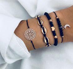 Buy DIEZI Bohemian Flower Moon Charm Black Beaded Bracelets Sets For Women Fashion Chain Strand Bracelets Bangles Jewelry Gifts Cute Jewelry, Boho Jewelry, Jewelry Gifts, Handmade Jewelry, Fashion Jewelry, Women Jewelry, Jewelery, Bohemian Bracelets, Summer Jewelry