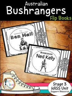 Australian Bushrangers Unit - includes 2 information flip books depicting the lives of Ben Hall and Ned Kelly from early childhood through to their captures PLUS so much more!  93 pages in all!