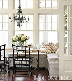 "Traditional Home on Instagram: ""A built-in corner bench with bottom drawers and added wall shelves make this breakfast nook organized and multi-functional. #THGetOrganized Design by Wendy Kirkland"""