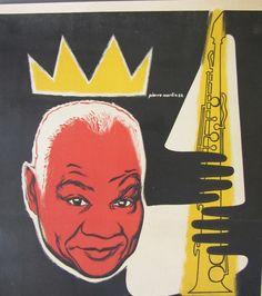 Sidney Bechet Original Vintage 1952 French Concert Poster By Pierre Merlin