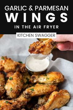 Air fryer wings are the best way to get a crispy wing without the oil. The recipe is simple, but the wings are full of flavor. The perfect appetizer or game day treat! Baked Chicken Recipes, Pork Recipes, Yummy Recipes, Dinner Recipes, Cooking Recipes, Parmesan Wings Recipe, Parmesan Chicken Wings, Simple Recipes, Air Fryer Recipes