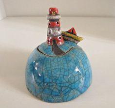 Scatola di ceramica Raku  Zuccheriera  Portagioie  Fatta a