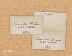 Printable wedding place card template Vintage paper by Oxee