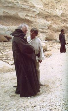 Sir Alec and Mark Hamill  on the set of Star Wars A New Hope