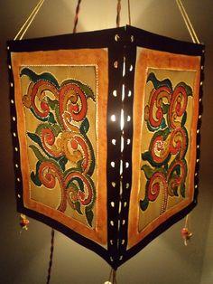 Handmade paper lampshade with handpainted Kerala Mural Design