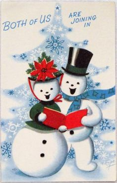 #1374 50s Rust Craft Marjorie Cooper Snowman Couple-Vtg Christmas Greeting Card