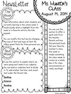 Such a cute weekly newsletter template! Great color combination ...