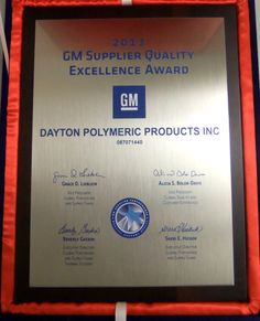 Creative Foam/Dayton Molded Products received GM Supplier Quality Excellence Award.