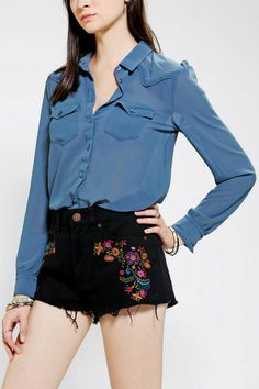 Urban Outfitters Kimchi Blue Pretty Chiffon Western Blouse in Blue - Lyst Hoi An Tailor, Urban Outfitters Women, Kimchi, Westerns, Short Dresses, Chiffon, Blouse, Pretty, Stuff To Buy