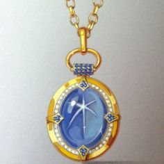 Sketch for a Monica Rich Kosann one of a kind blue star sapphire locket.