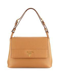 Vitello Daino Shoulder Bag, Tan by Prada at Bergdorf Goodman.