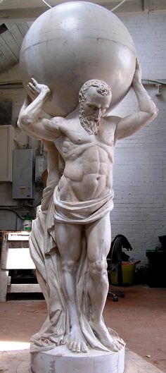 The statue nearly completed, carved by Paul J, 'pointed' from my model Atlas Sculpture, Art Sculpture, Rodin The Thinker, Kenilworth Castle, Anatomy Sculpture, Greek Statues, Exotic Art, Smart Art, Greek Art