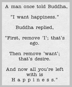 "Welcome: Quote (unknown): A man once told Buddha, ""I want happiness""."