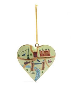 Vintage London Map Tower of London Heart Tree Decoration