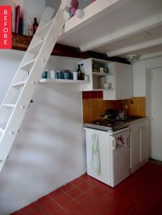 Before & After: A Tiny Paris Kitchen Gets Double-Duty Solution