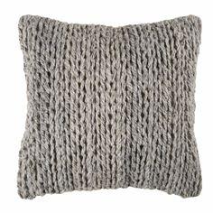 Coussin en laine et coton bicolore ...