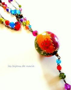 Long colorful Bollywood style necklace by LesBijouxDeMarie on Etsy, €43.50