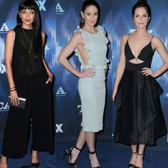 Três lindos looks, inspiradores, em tons preto e pastel, simples chiques, do FOX Winter TCA All Star Party.♥️✨ #glam #tamarataylor #sarahwaynecallies #katieaselton #simplechic #fashionstyles #foxtcaallstarparty