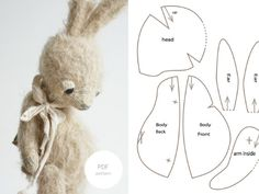 Bunny Rabbit Toy Plush Pattern PDF For Sewing Lovers PDF Sewing Pattern & Tutorial Mohair Rabbit 6 Inches Stuffed Animal Pattern Easter Bunny Pattern Artist Teddy Bear Pattern For Woman Sewing Tutorials, Sewing Crafts, Sewing Projects, Sewing Ideas, Sewing Kit, Sewing Basics, Sewing Stuffed Animals, Stuffed Animal Patterns, Crochet Easter