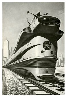 Atomic Locomotive, 1960 by Paul Malon.  Beautiful and in every way more realistic than Hyperloop.