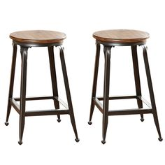 Sit comfortably in these counter stools featuring a classic design with a sturdy metal base.  The stool seat is crafted from solid birch wood and is finished in a warm chestnut, making it a beautiful addition to any kitchen.