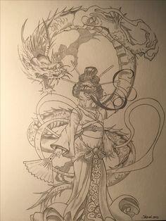 Dragon Tattoo Drawing, Red Dragon Tattoo, Dragon Tattoo Designs, Japanese Geisha Tattoo, Japanese Dragon Tattoos, Japanese Tattoo Designs, Cool Forearm Tattoos, Body Art Tattoos, Tattoo Sketches