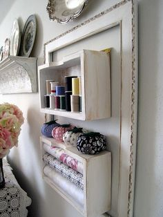 Funky Junk Interiors: SNS 83 shows off traditional picture frames used creatively Empty Picture Frames, Empty Frames, Craft Room Storage, Craft Organization, Craft Rooms, Bathroom Organization, Storage Boxes, Storage Shelves, Organization Ideas