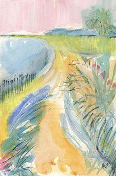 Original abstract coastal mixed water media painting, Return