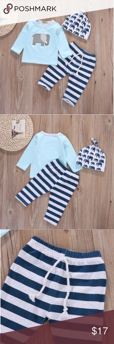 ELEPHANTS! 3 piece outfit for baby 3-6 mo.New 3pcs suit of baby boy's clothes with Striped pants and hat. Blue, white, gray and navy. Oh, so cute! new in bag. Matching Sets