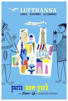 Vintage Lufthansa Paris To New York Travel Poster,lufthansa,airline poster,vintage airline,travel poster,vintage travel poster,art poster,poster art,eiffel tower,statue of liberty,native american,tourism,vintage advertising,german advertising,constellation,paris,new york