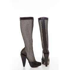 Versace Fall 2012 Mesh Boots ❤ liked on Polyvore featuring shoes, boots, black mesh shoes, zip shoes, mesh boots, versace boots and zipper shoes