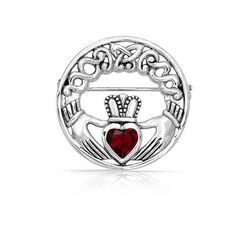 Bling Jewelry 925 Silver Irish Celtic Claddagh Brooch Pin Ruby Color... ($71) ❤ liked on Polyvore featuring jewelry, brooches, red, cubic zirconia jewelry, heart brooch, red jewelry, pin brooch and silver celtic jewelry