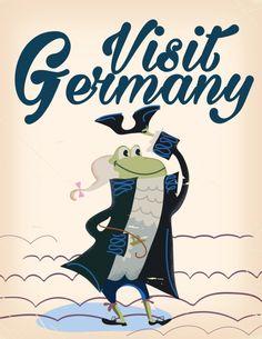 Visit Germany vintage travel poster Art Print
