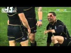 Headbutt draws blood during Rugby Celebration [HD] (Australia vs Scotland)  Oops!