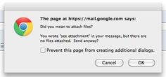 Great user error prevention from Gmail.