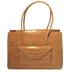 Alexandra Knight Tan Alligator Handbag | 1stdibs.com