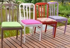 Colorful Chairs, Outdoor Furniture Sets, Outdoor Decor, Dining Chairs, Table, Home Decor, Decoration Home, Room Decor, Dining Chair