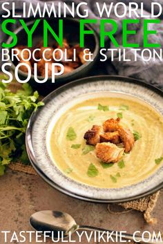 This delicious Slimming World broccoli and stilton soup cooks in a soup maker, pan, multicooker and slow cooker. It can also be Syn Free when using cheese as your Healthy Extra A. Slimming World Soup Recipes, Slimming World Lunch Ideas, Slimming World Dinners, Slimming World Diet, Slimming Eats, Broccoli Recipes, Veggie Recipes, Healthy Recipes, Veggie Meals