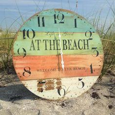 At the beach wall clock. It also says: Welcome to the Beach