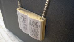 Alice in Wonderland Modern Mini Wooden Book Necklace - Free US Shipping. $29.50, via Etsy.