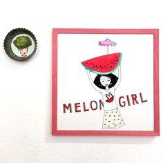 Art print illustration with  girl, melon, wall decor, kitchen art, illustration print for fruit lovers, colorful girl with melon von littleberlingirl auf Etsy