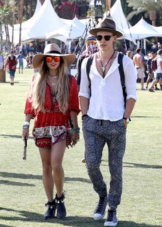Vanessa Hudgens and Austin Butler match their hats at Coachella