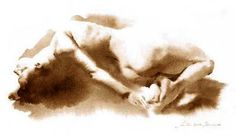 Artist: Wendy Artin, watercolor {figurative nude female barefoot woman reclining posterior behind painting}